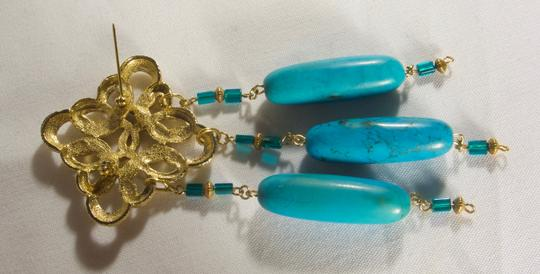 unknown Turquoise & Gold Vermeil Pin Image 1