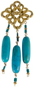 unknown Turquoise & Gold Vermeil Pin