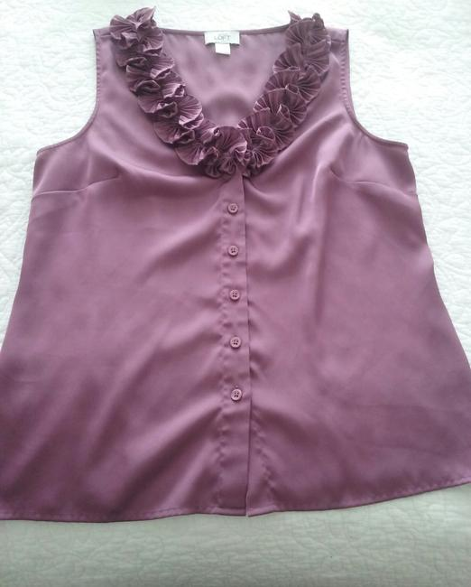 Ann Taylor LOFT Valentino Chanel Gucci Coach Bling Top Dusty Rose Image 2