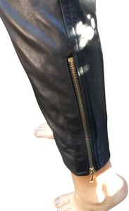 Chanel Leather Straight Pants black