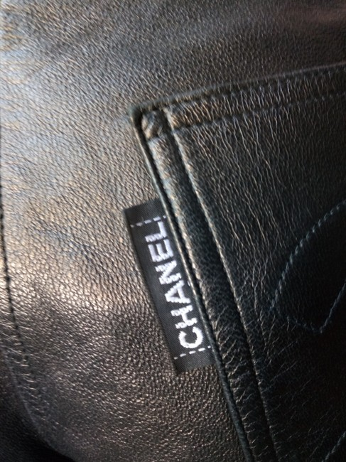 Chanel Leather Straight Pants black Image 2