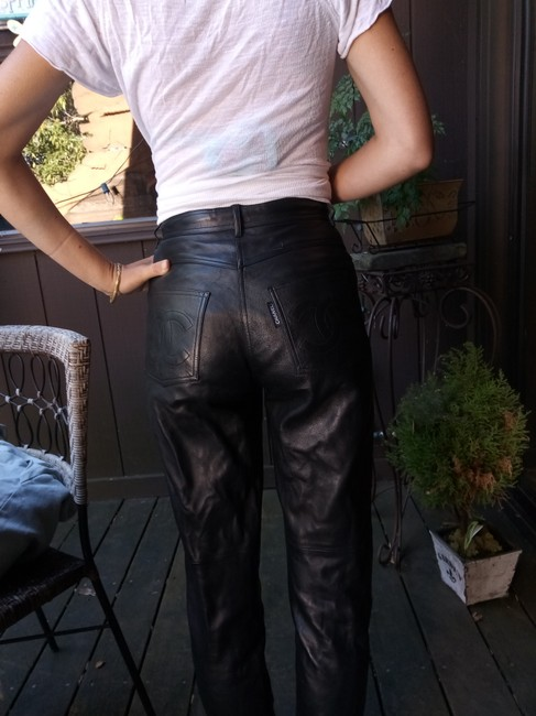 Chanel Leather Straight Pants black Image 3
