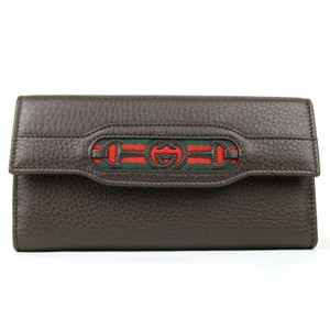 Gucci Brown Leather GG Horsebit Long Wallet with GRG Web 295351 2061