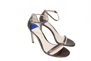 Stuart Weitzman Nudistsong High Heel Ankle Strap Pewter Glass Sandals
