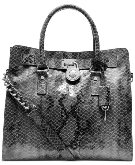 Michael Kors Large Hamilton Snakeskin Leather Snake Embossed Grey Gray Tote in DARK SLATE & MATCHING WALLET Image 1
