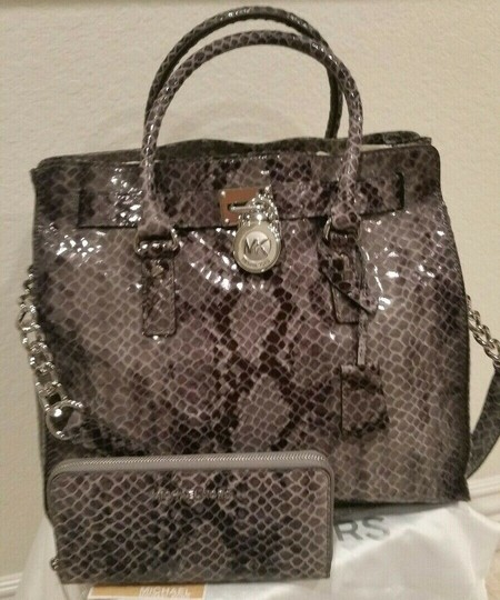 Michael Kors Large Hamilton Snakeskin Leather Snake Embossed Grey Gray Tote in DARK SLATE & MATCHING WALLET Image 2