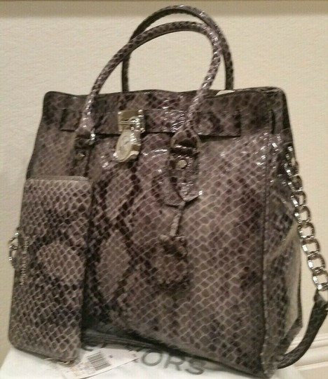 Michael Kors Large Hamilton Snakeskin Leather Snake Embossed Grey Gray Tote in DARK SLATE & MATCHING WALLET Image 3