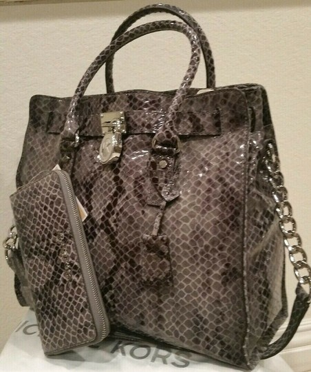 Michael Kors Large Hamilton Snakeskin Leather Snake Embossed Grey Gray Tote in DARK SLATE & MATCHING WALLET Image 4