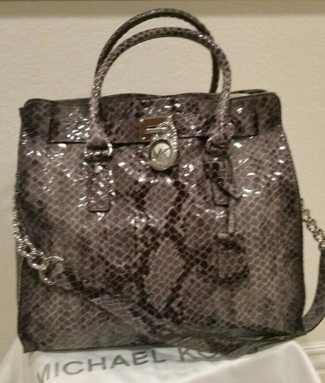 Michael Kors Large Hamilton Snakeskin Leather Snake Embossed Grey Gray Tote in DARK SLATE & MATCHING WALLET Image 5