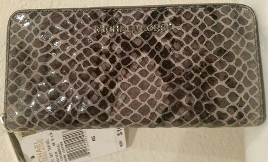 Michael Kors Large Hamilton Snakeskin Leather Snake Embossed Grey Gray Tote in DARK SLATE & MATCHING WALLET Image 6