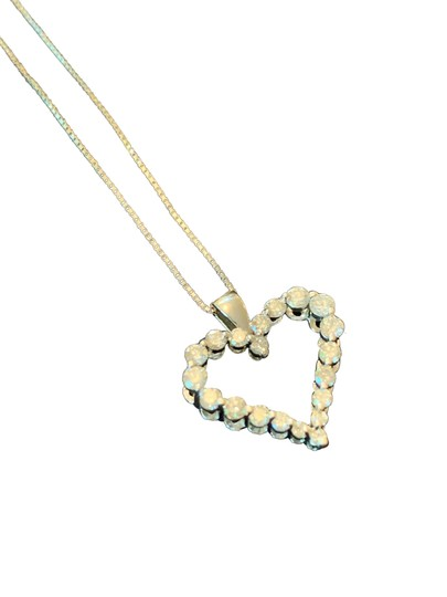 Stunning White Gold Diamond Heart Pendant .60 Pts. Diamond Heart Pendant Necklace w/ 9
