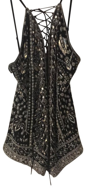 Silver with Black Background Beaded Romper/Jumpsuit Silver with Black Background Beaded Romper/Jumpsuit Image 1