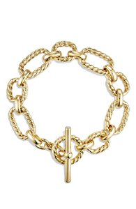 David Yurman David Yurman Chain Cushion Link Bracelet with Diamonds in 18K Gold