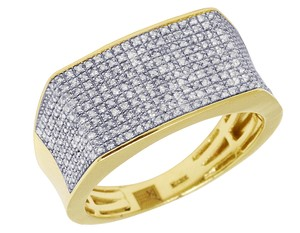 Jewelry Unlimited 10K Yellow Gold Real Diamond Mens Pave Pinky Ring 11.5mm 0.70 CT