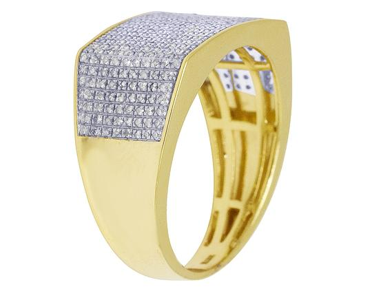 Jewelry Unlimited 10K Yellow Gold Real Diamond Mens Pave Pinky Ring 11.5mm 0.70 CT Image 1
