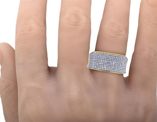 Jewelry Unlimited 10K Yellow Gold Real Diamond Mens Pave Pinky Ring 11.5mm 0.70 CT Image 2