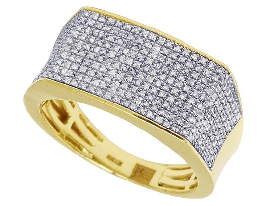 Jewelry Unlimited 10K Yellow Gold Real Diamond Mens Pave Pinky Ring 11.5mm 0.70 CT Image 3