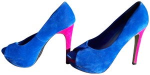 Herstyle Open Toe Soft Bright Halloween Sexy Blue & Pink Pumps