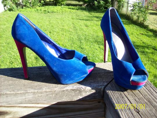 Herstyle Open Toe Soft Bright Halloween Sexy Blue & Pink Pumps Image 1