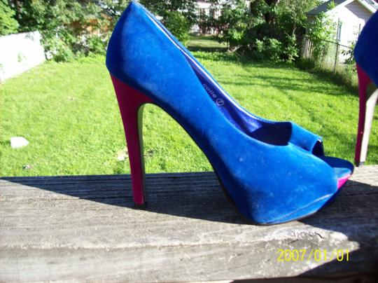 Herstyle Open Toe Soft Bright Halloween Sexy Blue & Pink Pumps Image 3