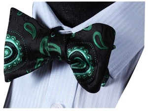Other Self Bow tie Floral 100%Silk Jacquard Woven Men Butterfly Self Bow Pocket Square Handkerchief Hanky Suit Set