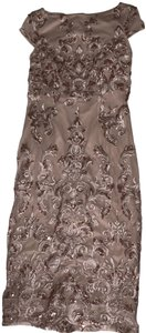 Marina Dresses Blush Sequin Formal Fitted Dress