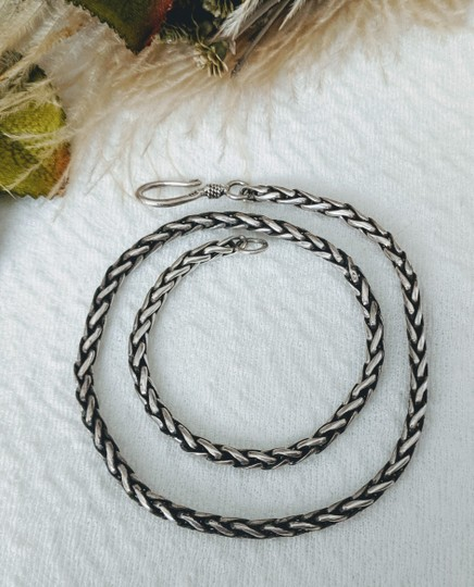 Artisan Crafted Artisan Sterling Silver Wheat Chain Necklace Image 5