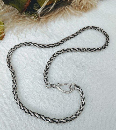 Artisan Crafted Artisan Sterling Silver Wheat Chain Necklace Image 6