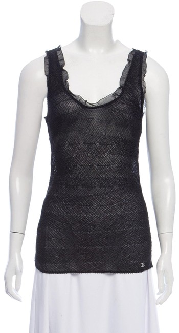 Item - Black Metallic Silver Lace Mesh Sheer Cc Logo Camisole Knit Sleeveless Ruffle Plissé Tank Top/Cami Size 12 (L)