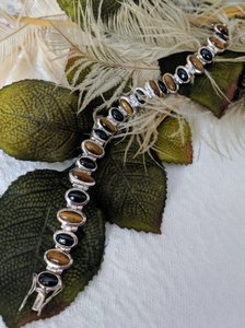 Artisan Crafted Artisan Crafted Sterling Onyx Tiger Eye Bracelet