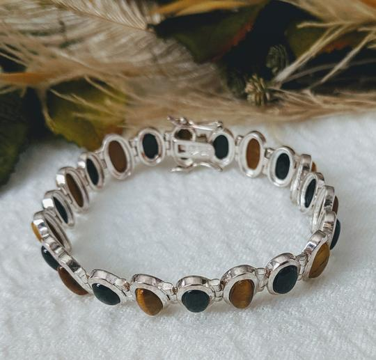Artisan Crafted Artisan Crafted Sterling Onyx Tiger Eye Bracelet Image 3