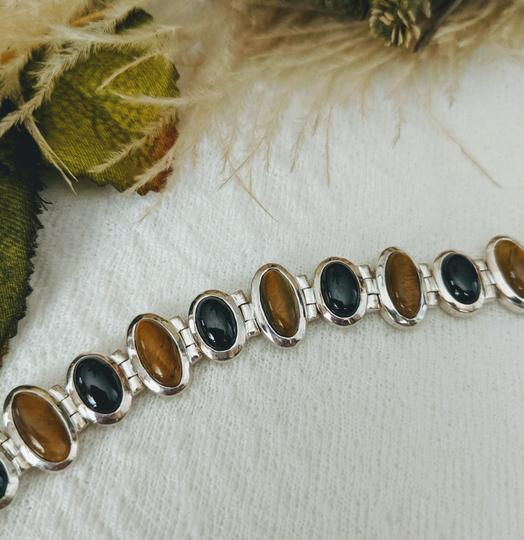 Artisan Crafted Artisan Crafted Sterling Onyx Tiger Eye Bracelet Image 4
