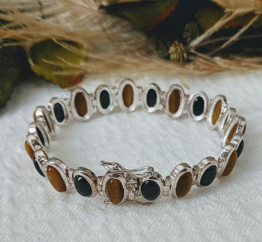Artisan Crafted Artisan Crafted Sterling Onyx Tiger Eye Bracelet Image 7