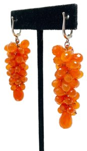 Susan Wexler Design 14K white gold, faceted carnelian earrings, 28.3g