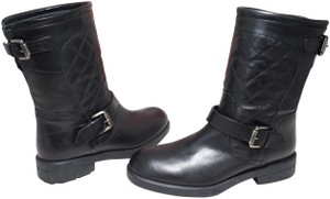 Aquatalia Buckle Leather Ankle Black Boots