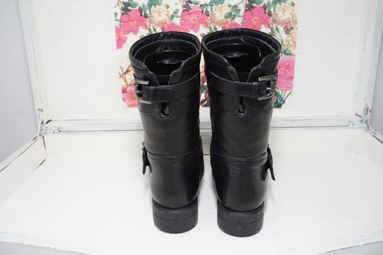 Aquatalia Buckle Leather Ankle Black Boots Image 4