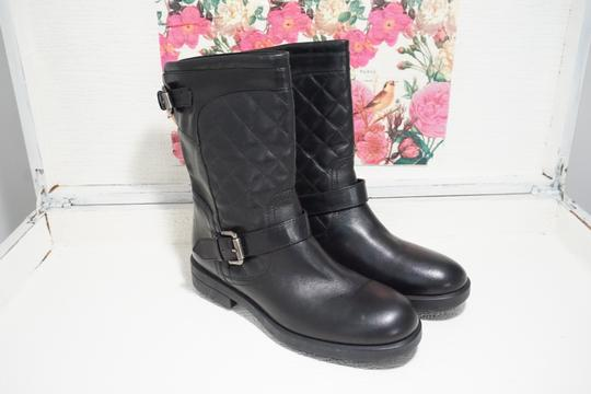 Aquatalia Buckle Leather Ankle Black Boots Image 6