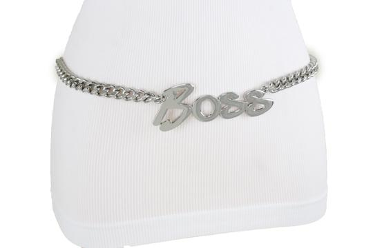 Alwaystyle4you Women Fashion Belt Silver Metal Chain Links BOSS Charm Size XS S M Image 3