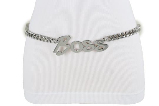 Alwaystyle4you Women Fashion Belt Silver Metal Chain Links BOSS Charm Size XS S M Image 6