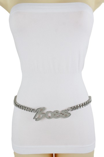 Alwaystyle4you Women Fashion Belt Silver Metal Chain Links BOSS Charm Plus Size XXL Image 0