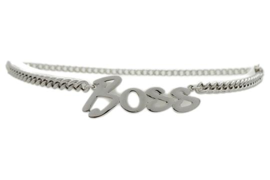 Alwaystyle4you Women Fashion Belt Silver Metal Chain Links BOSS Charm Plus Size XXL Image 1