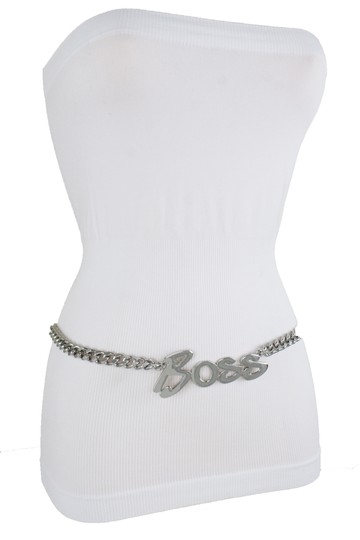 Alwaystyle4you Women Fashion Belt Silver Metal Chain Links BOSS Charm Plus Size XXL Image 2