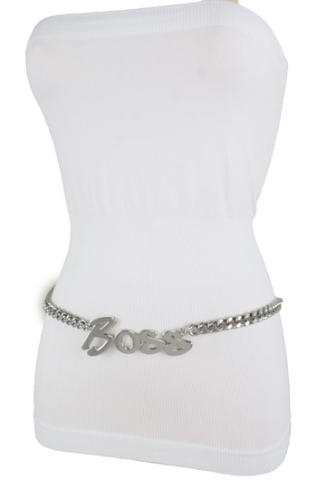 Alwaystyle4you Women Fashion Belt Silver Metal Chain Links BOSS Charm Plus Size XXL Image 6