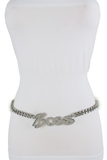 Alwaystyle4you Women Fashion Belt Silver Metal Chain Links BOSS Charm Plus Size XXL Image 8