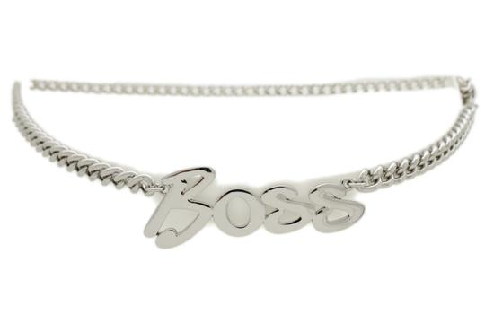 Alwaystyle4you Women Fashion Belt Silver Metal Chain Links BOSS Charm Plus Size XXL Image 9