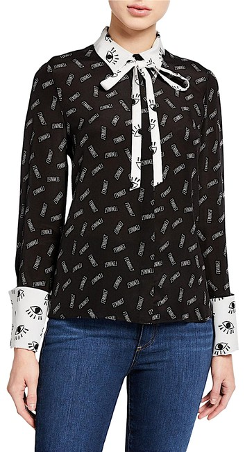 Alice + Olivia Button Down Shirt black/withe silk with tag Image 1