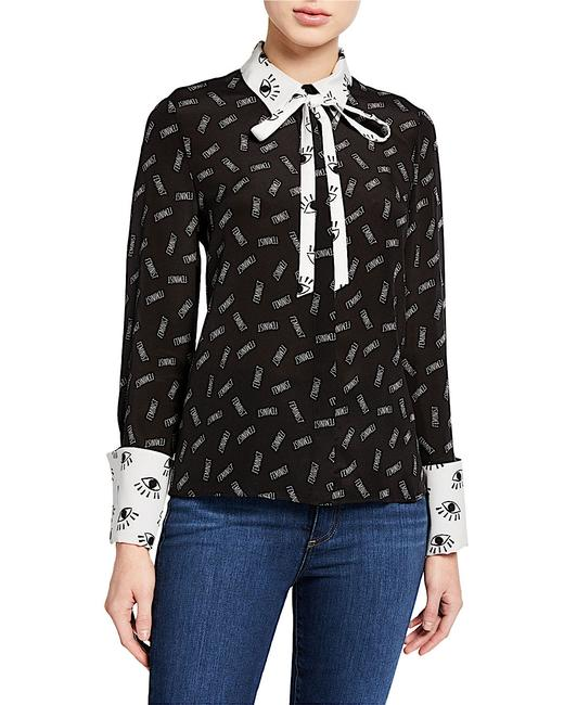Alice + Olivia Button Down Shirt black/withe silk with tag Image 10