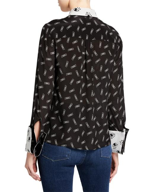 Alice + Olivia Button Down Shirt black/withe silk with tag Image 2