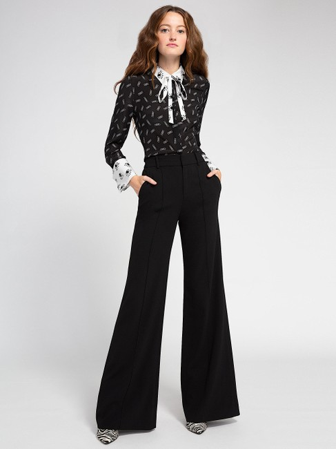 Alice + Olivia Button Down Shirt black/withe silk with tag Image 5