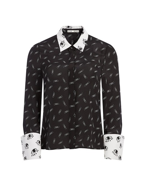 Alice + Olivia Button Down Shirt black/withe silk with tag Image 9